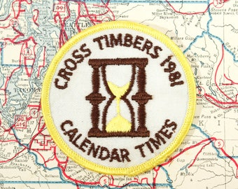 Vintage Girl Scout Patch Calendar Times 1981 Cross Timbers Scout Insignia Badge Uniforms Jackets Back