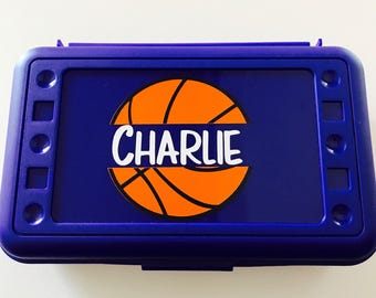 Personalized Pencil Box, Basketball Pencil Box, Back to School, School Supplies, Pencil Case, Pencil Box