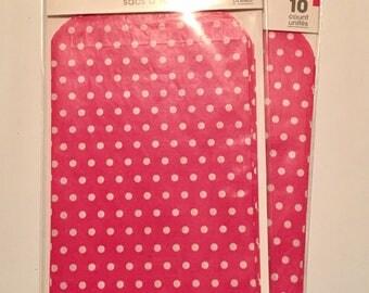 Pink & White Polka Dot Paper Treat Bags