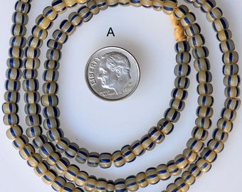 Vintage Venetian Striped Glass Pony Beads- African Trade Beads - 5-6mm - Various Colors - 24 Inch Strand