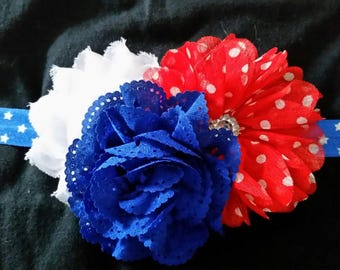 Newborn size in red, white and blue. Perfect for July 4th.