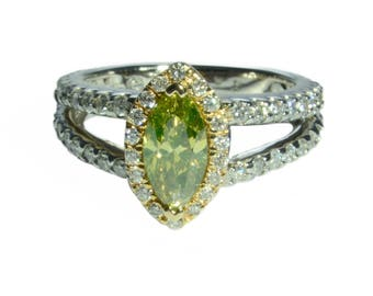 2 Carat Marquise Cut Engagement Ring Yellow Green Diamond Double Halo SI Clarity 14K Yellow Gold White Gold Wedding Bridal Ring Bright Real