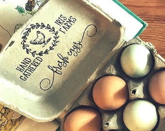 Custom Egg Cartons - Fresh Eggs Carton - Chicken Egg Carton Stamp - Farm Name Stamp - Chicken Coop Egg Carton - Backyard Chicken Egg Stamper