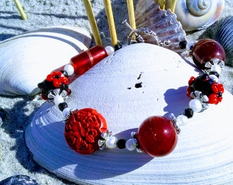 Red and Black Lampwork with Cinnabar Italian Glass and Freshwater Pearl Beaded Bracelet