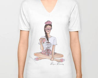 Women's V- neck T-Shirt,tshirt with sleeves, chic t-shirt, illustrated t-shirt, summer t-shirt, gift t-shirt