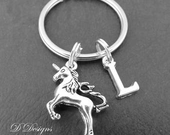 Unicorn Key Chain, Unicorn Keyring, Silver Unicorn Jewellery, Personalised Keychain, Gifts for Unicorn lovers