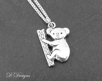 Silver Koala Necklace, Silver Koala Pendant, Silver Charm Necklace, Silver Necklace, Trendy Necklace
