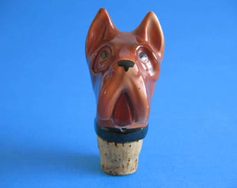 1960's Porcelain Bottle Stop Bull Terrier