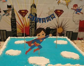 Superman Cake Topper. Superman Birthday. Superman Party. Superhero birthday. Superman Banner. Superman Centerpiece. Superman Cake. Superhero