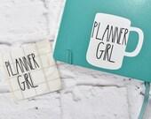 Planner Girl White Mug Vinyl Decal - Vinyl decal, white mug, planner accessory, travelers notebook