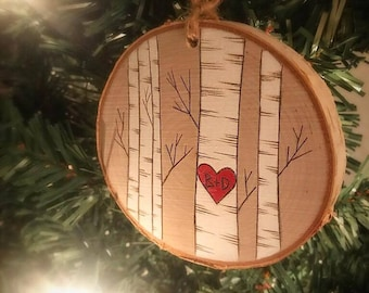 Our First Christmas Ornament, Personalized Christmas Ornaments,  Rustic Ornament , Christmas Ornament, Newlywed Gift, Couple Ornament
