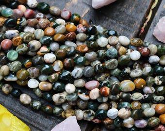 ocean jasper beads,  gemstone nugget, nugget beads, earthy beads,  multi color beads, boho beads, 5mm - 8mm