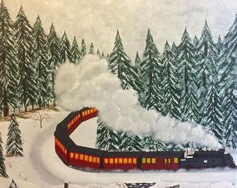 Train. Acrylic on canvas painting .61 cm x 91 cm