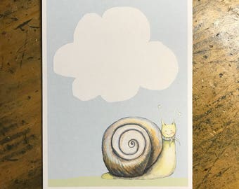 Snail -watercolor woodland snail nursery print