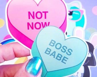 Boss babe vinyl decal | Boss babea vinyl sticker | Boss babe gifts | Boss babe candy heart | Vinyl Decal laptop | Heart Gift for her