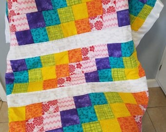 Rainbow Baby Postage Stamp Quilt