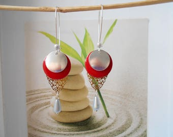 Silver and Red sequin Silver earrings