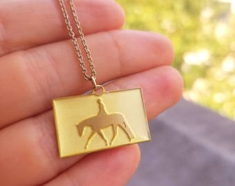 Hunter Under Saddle Horse Necklace, Brass with High Gloss Resin Finish