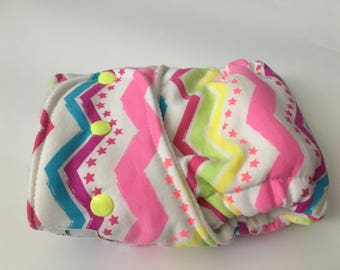 Chevron Stars Neon Hybrid Fitted Cloth Diaper - One Size - FDR - Zorb