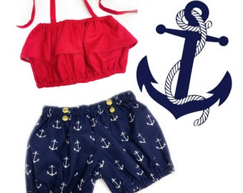 Sailor Girl Shorts/Bloomers Set