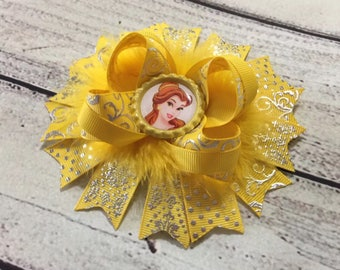 Beauty and The Beast Hair Bows ,Belle Hair Bow ,Princess Stacked Hair Bow , Belle Boutique Hair Bows ,Belle Stacked Hair Bow, Baby Headband