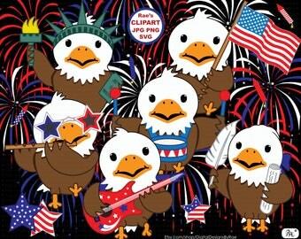 Patriotic Bald Eagles digital clipart set