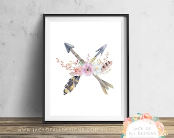Floral Arrow Cross - Wall Art Print