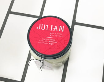 Julian || Scented Soy Candle || California || Apples || Cinnamon || Sugar || Handmade || Handpoured || Mason Jar Candle