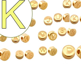 alphabet bead K 7mm gold plated #3862