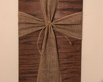 Burlap Cross Wall Hanging Sign