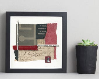 MINORITY RULE mixed media abstract collage, original art, wall art, vintage papers
