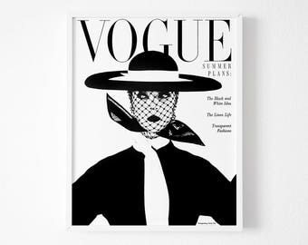 Vogue Cover Poster, Fashion art poster, Gift For her, Mode Affiche, Dorm room, Vintage Vogue poster, Vogue black white