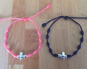 Cross Charm Knotted Bracelet