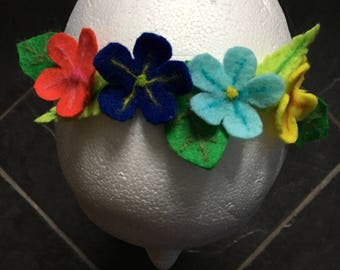 Alice Hairband With Primrose Felt Flowers In Red Yellow And Blues