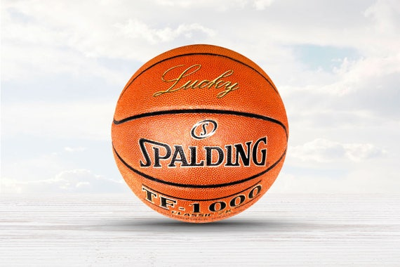 Customized Personalized Basketball Spalding Cross Court Indoor/Outdoor Basketball in gold text (this ball is not the TF-1000)