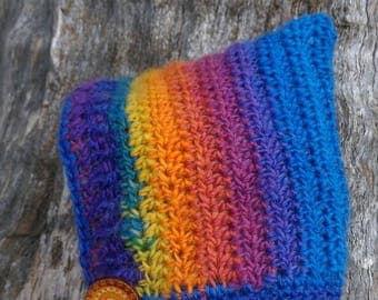 Crochet rainbow pixie bonnet baby wool hat 3-6 months