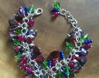 Floral Bracelet, Autumn Bracelet, Cluster Bracelet, Green Bracelet, Purple Pink Bracelet, Nature Bracelet, Flower Jewelry, Gift for Women