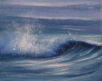 Beach Wall Art, Coastal Landscape Painting, Coastal Themed Bathroom, Wave, Small Oil Painting, Seascape, Coastal Decor, Surf Art