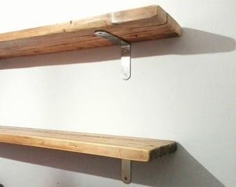 "11"" deep Reclaimed Wood Shelves with steel brackets. Wood Shelves. 30cm deep shelves. Hand Made in Italy."