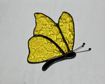 Stained Glass Butterfly Suncatcher - Butterfly Suncatcher - Stained Glass Suncatcher - Yellow Butterfly Suncatcher - Yellow Butterfly