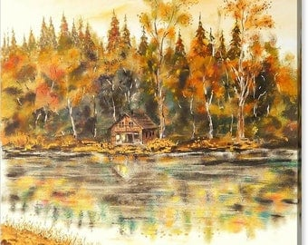 Cabin On The Lake Lovely Canvas Art Print - Size 32x24 Inches