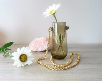 Hanging Glass Vase on Gold Chain