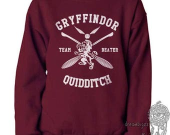 BEATER - Gryffin Quidditch team Beater White print on Maroon Crew neck Sweatshirt