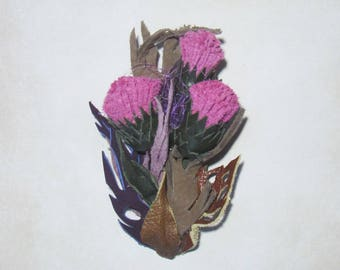 Flower Thistle, Leather brooch, Thistle Brooch leather, leather flower brooch, Thistle brooch, Flower Thistle brooch, Mother's day gift