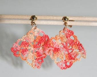Orange crochet degraded earrings