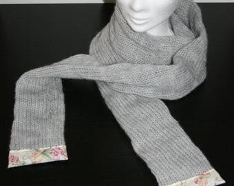 Scarf in gray wool - wool and Liberty Collection