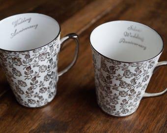 Royal Windsor Silver Anniversary Mugs c. 1970s