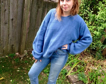 Vintage 90s Oversized All Cotton Big Sweater // XL Blue Sky Checked 90s Pullover // Big Blue Sweater
