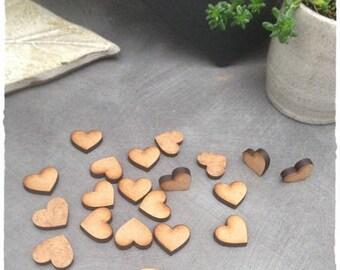 Set of 25 mini hearts blank diameter 1.5 cm thickness 3 mm