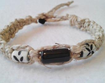 Thick Hemp Bracelet Black Ceramic &  White Bone Beads - Surfer Hemp Bracelet - Men's Hemp Bracelet